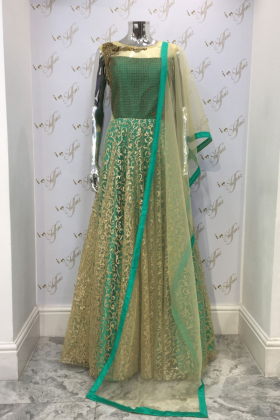 Green long net embroidered dress with dupatta