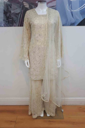 Cream thread and stone work partywear