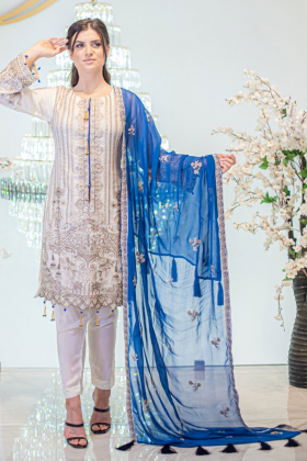 3 Piece white and blue chiffon embroidered suit