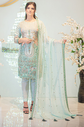3 Piece sky blue luxury embroidered suit