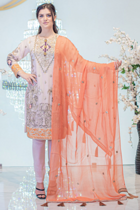 3 Piece beige and orange embroidered suit