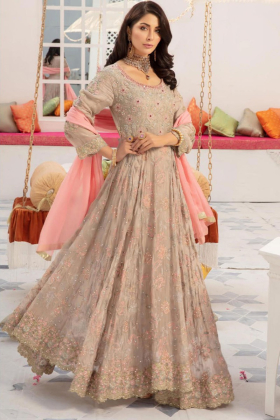 Beige frock style embroidered long dress