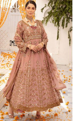 Dusty pink luxury embroidered lengha suit by IVANA
