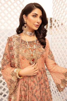 Dusy pink embroidered frock suit