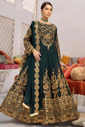 Ivana green embroidered chiffon 3 piece readymade outfit