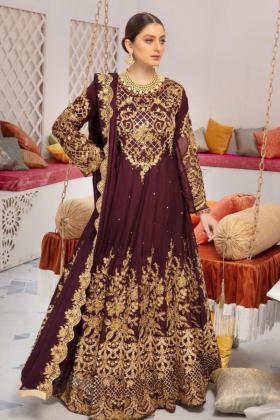 Ivana purple  embroidered chiffon 3 piece readymade outfit