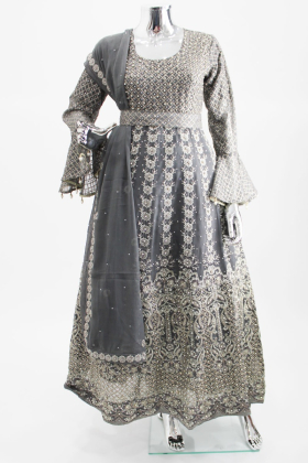 Grey luxury embroidered lengha suit by IVANA