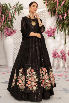 Black embroidered frock style dress