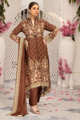 Brown punjabi style embroidered trouser suit