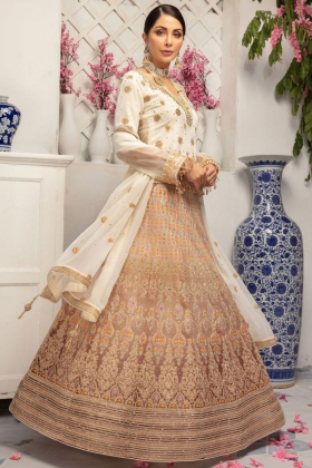 Cream luxury embroidered lengha suit by IVANA