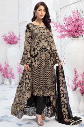 Ivana black embroidered chiffon 3 piece readymade outfit