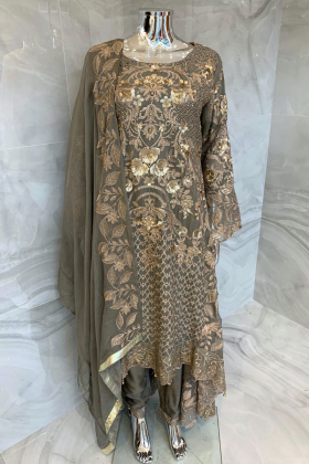 Ivana luxury embroidered 3 piece chiffon suit in grey