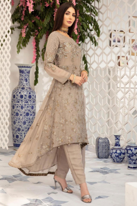 Beige embroidered traditional long tail dress