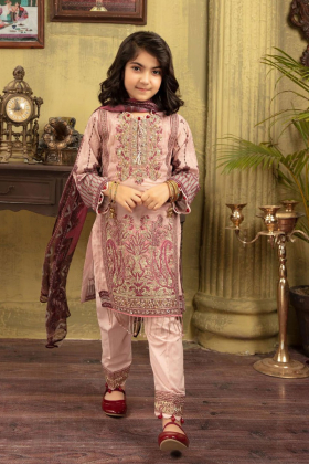IVANA kids 3 piece pink luxury lawn outfit