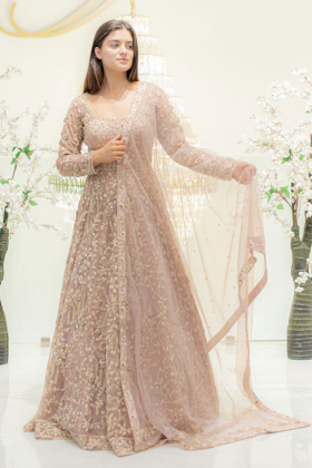 Long Embroidered Gown in Dusty Pink