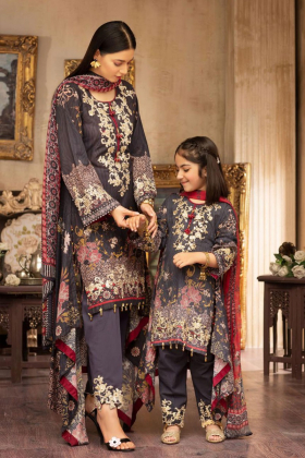 Kids ivana 3 piece luxury printed lawn suit in navy