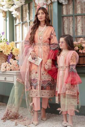 Ivana kids 3 piece luxury lawn printed suit in peach