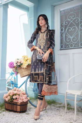 Ivana 3 piece luxury lawn printed suit in black