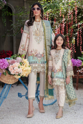 Ivana kids 3 piece luxury digital printed suit in beige for Eid 2021