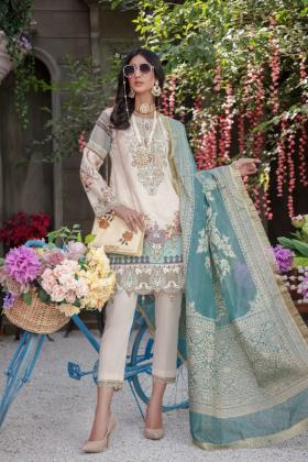 Ivana 3 piece luxury digital printed suit in beige for Eid 2021