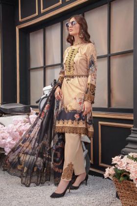 Ivana 3 piece beige luxury lawn printed suit
