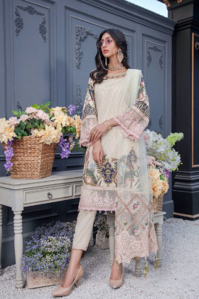 Ivana 3 piece luxury lawn printed suit in beige