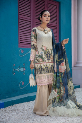 Ivana 3 piece luxury lawn printed beige suit with gharara