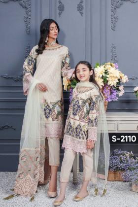 Ivana kids 3 piece luxury printed lawn suit in beige