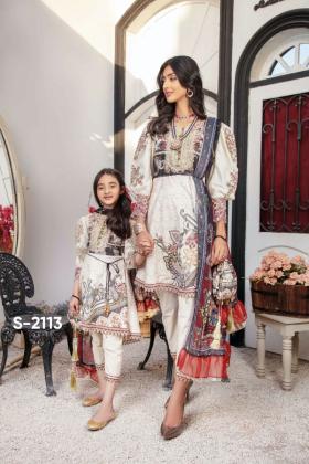 Ivana kids 3 piece luxury printed lawn suit in cream