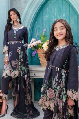 Eid collection 2021 Kids 3 piece luxury lawn printed suit in black
