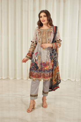 Ivana 3 piece luxury lawn printed suit in grey