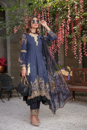 Ivana 3 Piece black printed embroidered suit for Eid 2021