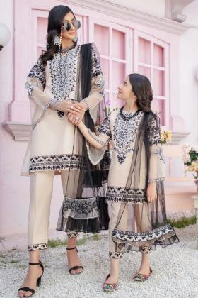 Ivana kids 3 piece luxury embroidered beige suit