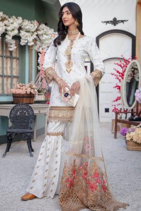 Ivana 3 piece luxury lawn embroidered garara suit in white