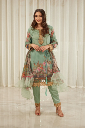 Ivana 3 piece luxury lawn printed suit in mint