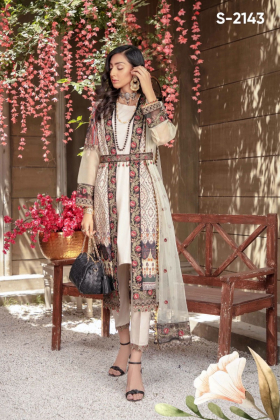 Ivana 3 piece luxury lawn printed jacket style suit in cream