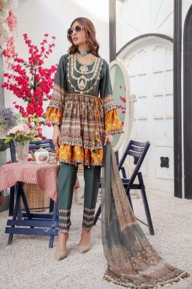 Ivana 3 piece luxury embroidered peplum suit in darkgreen