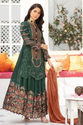 IVANA dark green 3 piece luxury embroidered lengha suit