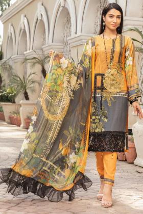 Mehwish dhanak three piece suit in orange