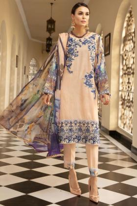 Mehwish dhanak three piece suit in light pink