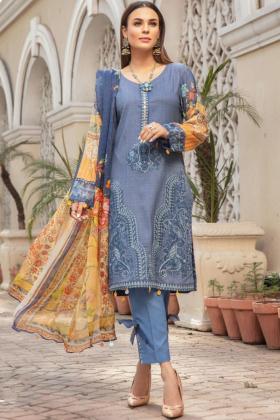 Mehwish dhanak three piece suit in blue