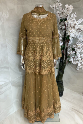 3 Piece luxury embroidered lengha suit in dark khakhi