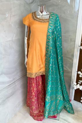 3 Piece banarsi plazo and dupatta suit with a silk shirt in orange