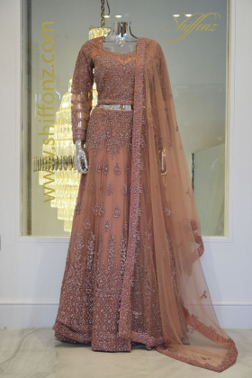 3 Piece dusty pink luxury embroidered lengha outfit