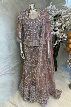 3 Piece luxury embroidered lengha suit in mauve