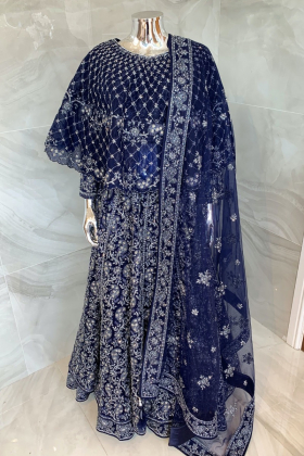 Luxury embroidered cape style gown in navy