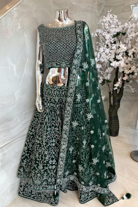 3 Piece net luxury embroidered green lengha choli