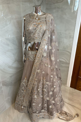 3 Piece luxury embroidered net lengha choli in beige