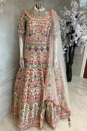 Beautiful multi coloured luxury thread-work embroidered long gown in beige