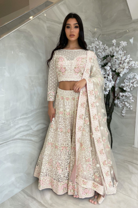 3 Piece luxury embroidered net lengha choli in cream pink